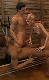 Lisa gets down in the sauna for a hot threesome