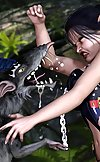 Sexy big titted jungle girl fights off killer rats
